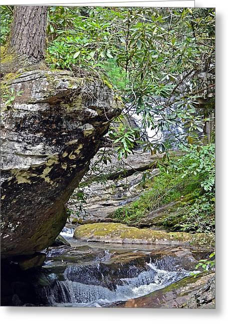 Waterfall Rock Greeting Card by Susan Leggett