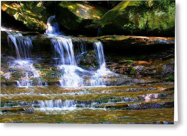 Babbling Greeting Cards - Waterfall Trio at McConnells Mill State Park Greeting Card by Angela Rath