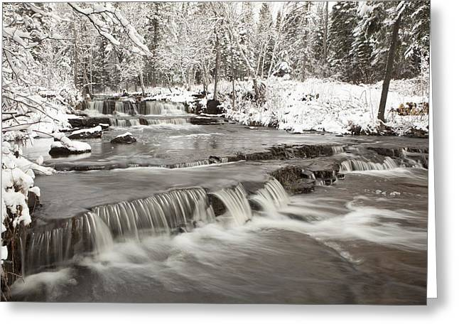 Snow-covered Landscape Greeting Cards - Waterfall With Fresh Snow Thunder Bay Greeting Card by Susan Dykstra