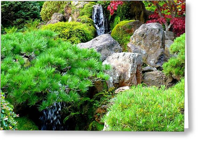 Waterfalls in Japanese Garden Greeting Card by Carol Groenen
