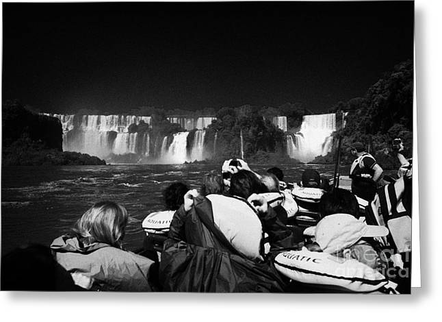 Life Jacket Greeting Cards - Waterfalls With Group Of Tourists In A Tour Boat Iguazu National Park Republic Of Argentina Greeting Card by Joe Fox