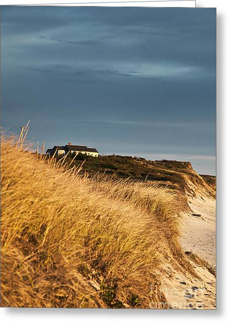 Waterfront Beach Cottage Greeting Card by John Greim