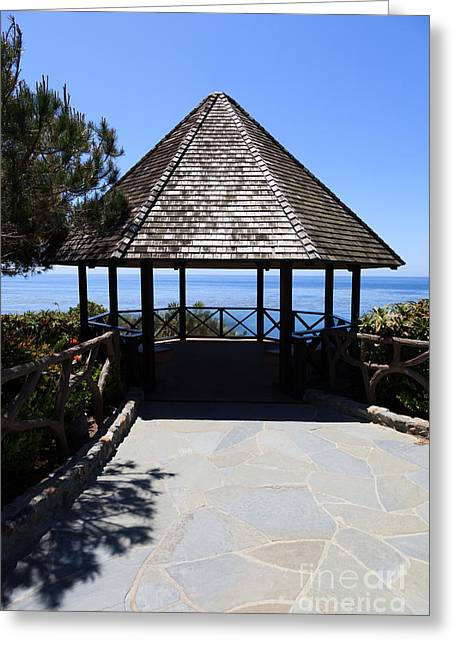 Octagon Greeting Cards - Waterfront Gazebo Greeting Card by Paul Velgos