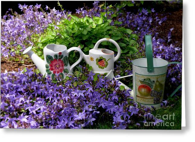 Searcy Greeting Cards - Watering cans and Campanula Greeting Card by Tanya  Searcy