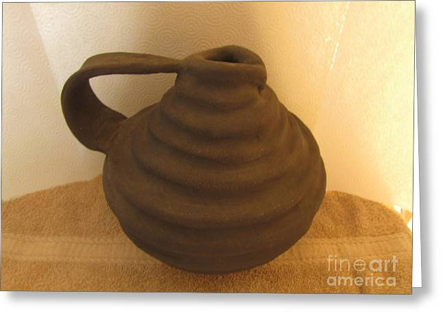 Water Ceramics Greeting Cards - Watering vase Greeting Card by Christina Perry