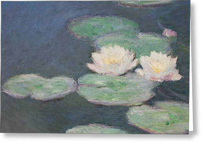 Close Up Paintings Greeting Cards - Waterlilies Greeting Card by Claude Monet