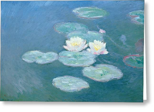 Pond Paintings Greeting Cards - Waterlilies Evening Greeting Card by Claude Monet