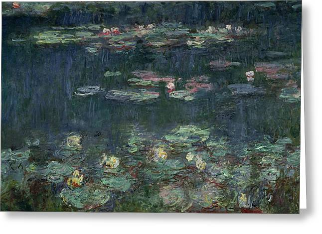 Lilies Greeting Cards - Waterlilies Green Reflections Greeting Card by Claude Monet