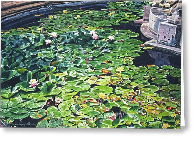 Waterlily Paintings Greeting Cards - Waterlilies Huntington Fountain Greeting Card by David Lloyd Glover
