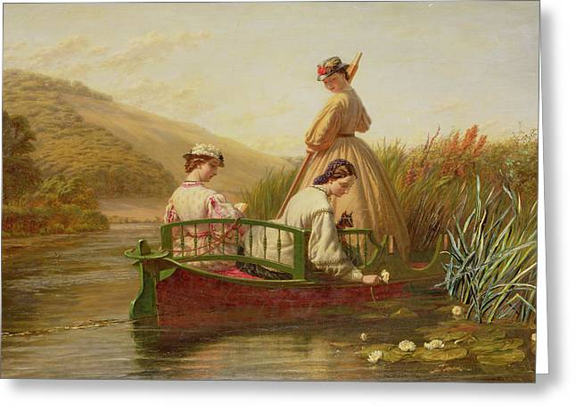 Woman Relaxing Greeting Cards - Waterlilies Greeting Card by Walter Field