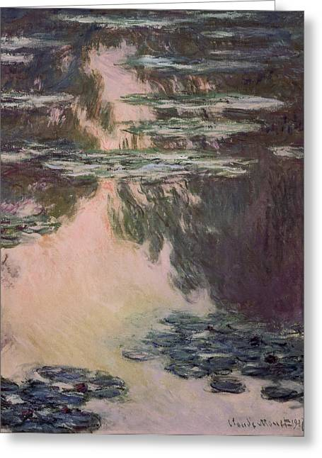 Signature Greeting Cards - Waterlilies with Weeping Willows Greeting Card by Claude Monet