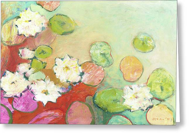 Pond Paintings Greeting Cards - Waterlillies at Dusk No 2 Greeting Card by Jennifer Lommers