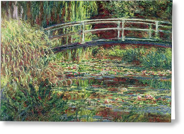 Pond.  Greeting Cards - Waterlily Pond Pink Harmony 1900 Greeting Card by Claude Monet