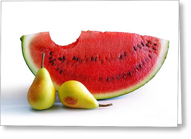 Biting Greeting Cards - Watermelon and Pears Greeting Card by Carlos Caetano