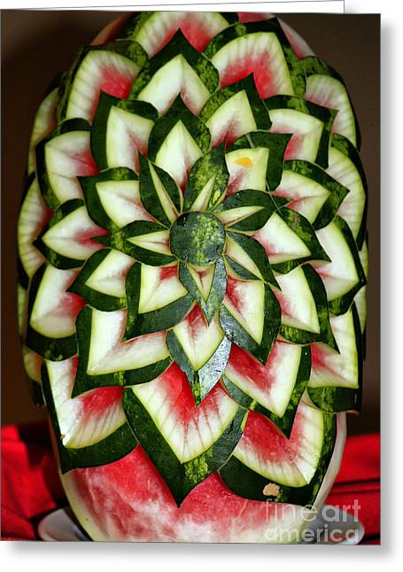 Watermelon Greeting Cards - Watermelon Art Greeting Card by Teresa Zieba