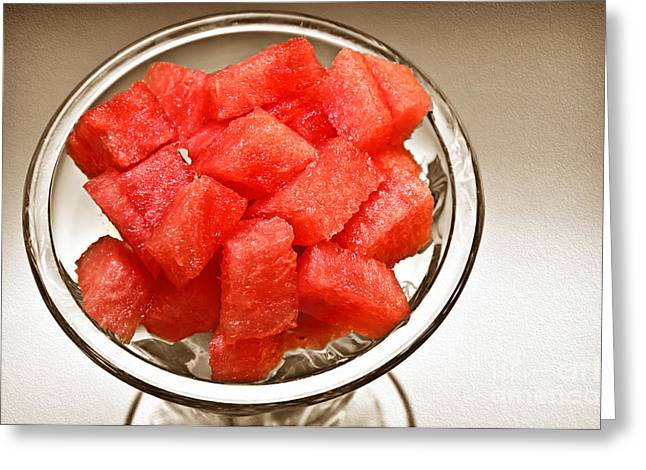 Melon Greeting Cards - Watermelon Parfait 2 Greeting Card by Andee Design