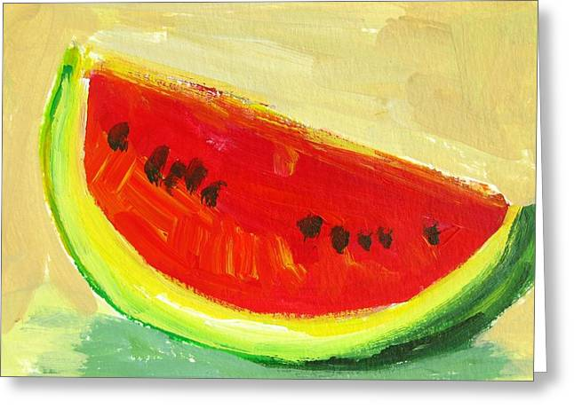 Watermelon Greeting Cards - Juicy Watermelon Greeting Card by Patricia Awapara
