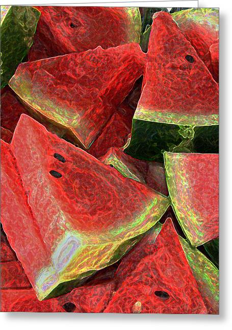 Watermelon Greeting Cards - Watermelon Slices Greeting Card by Day Williams