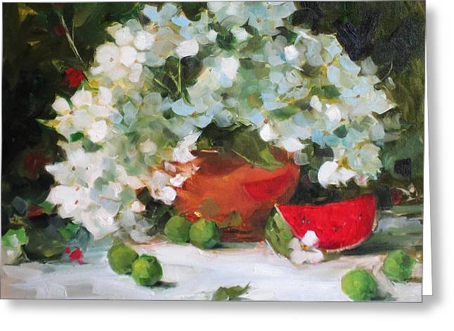 Still Life With Watermelon. Greeting Cards - Watermelon Smiles Greeting Card by Chris  Saper