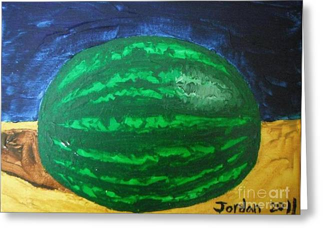 Watermelon Greeting Cards - Watermelon Still Life Greeting Card by Jeannie Atwater Jordan Allen