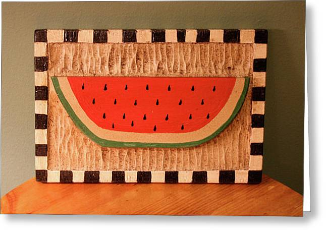 Food Reliefs Greeting Cards - Watermelon with Black Checkerboard Greeting Card by James Neill