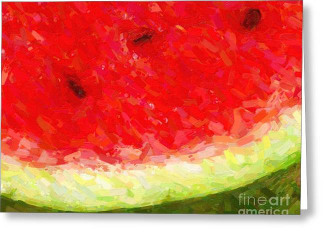 Exotic Fruit Greeting Cards - Watermelon With Three Seeds Greeting Card by Wingsdomain Art and Photography