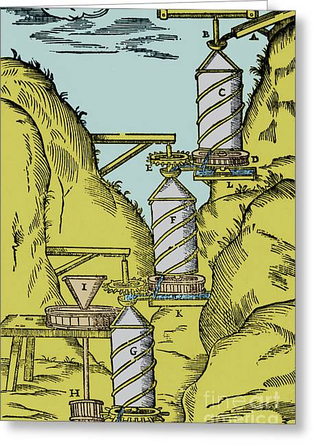 Reverse Photographs Greeting Cards - Watermill Reversed Archimedean Screw Greeting Card by Science Source