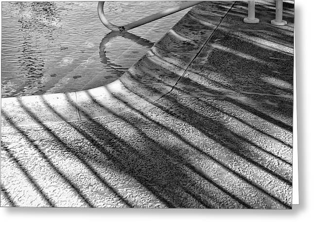 Pool Deck Greeting Cards - WATERS EDGE BW Palm Springs Greeting Card by William Dey