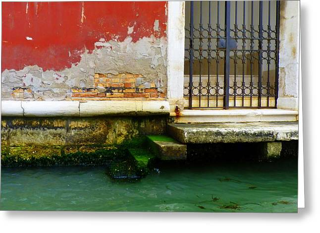 Carla Parris Greeting Cards - Waters Edge in Venice Greeting Card by Carla Parris
