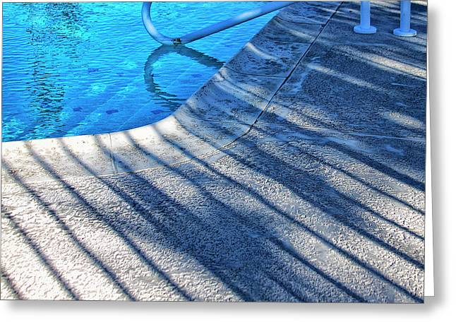 Pool Deck Greeting Cards - WATERS EDGE Palm Springs Greeting Card by William Dey