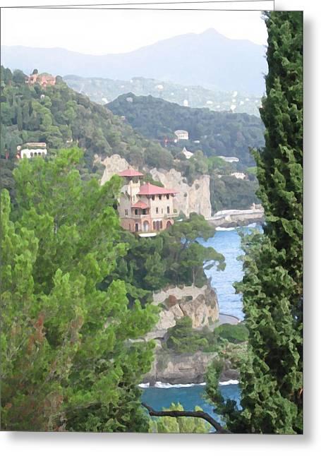 Portofino Italy Mixed Media Greeting Cards - Waters Edge Portofino Greeting Card by Paul Barlo
