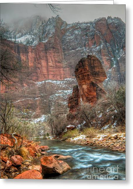 Southern Utah Greeting Cards - Waters Rushing at the Temple of Sinawava Greeting Card by Irene Abdou