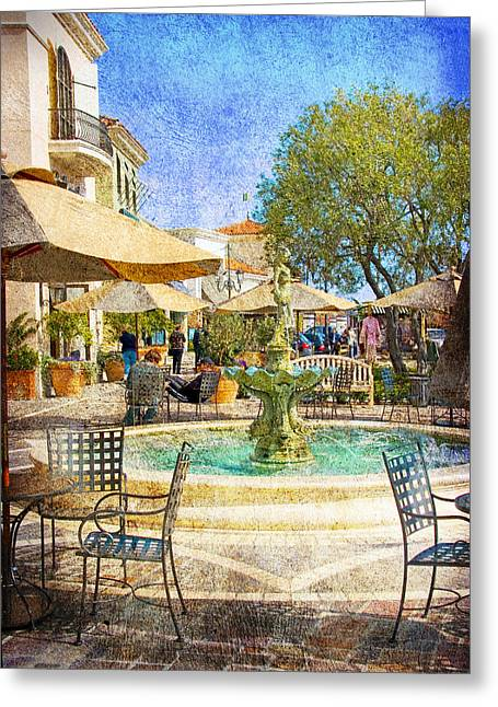 Italian Shopping Photographs Greeting Cards - Waterside Greeting Card by Chuck Staley