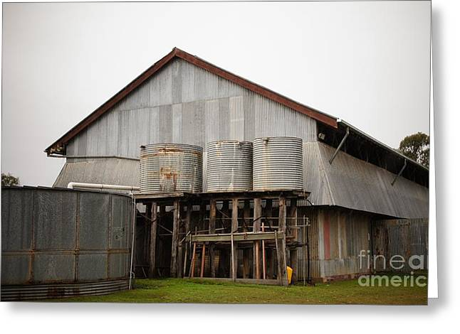 Watertanks And Shed Greeting Card by Therese Alcorn