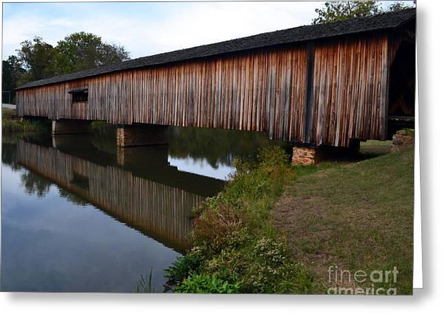 Eva Thomas Greeting Cards - Watson Mill Covered Bridge-Reflection Greeting Card by Eva Thomas