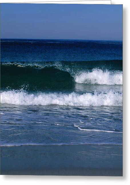 Beaches In Monterey Greeting Cards - Wave Breaking Left On The Beach At 17 Greeting Card by James Forte