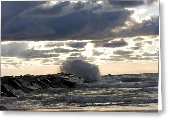 Wave crashing into jetty on Lake Michigan Greeting Card by Christopher Purcell