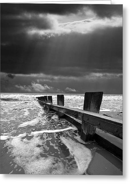Atmospheric Greeting Cards - Wave Defenses Greeting Card by Meirion Matthias