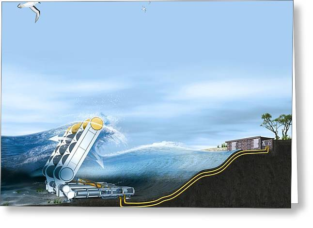 Best Sellers -  - Energy Conversion Greeting Cards - Wave Energy Converter, Artwork Greeting Card by Claus Lunau
