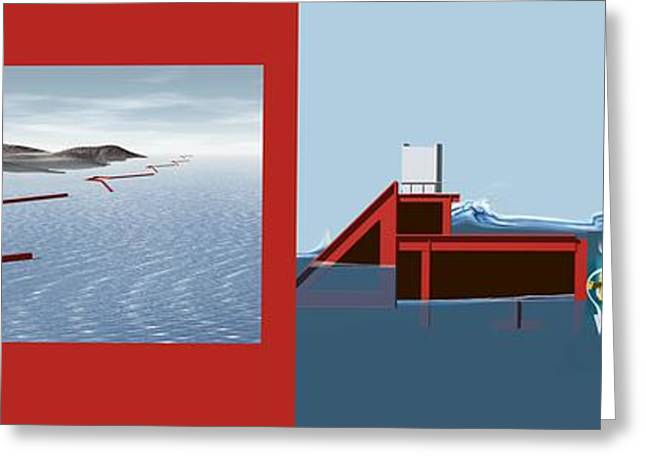Wave Energy Converter, Diagram Greeting Card by Claus Lunau