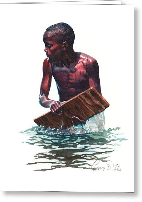 Etc. Paintings Greeting Cards - Wave Rider Greeting Card by Gregory Jules