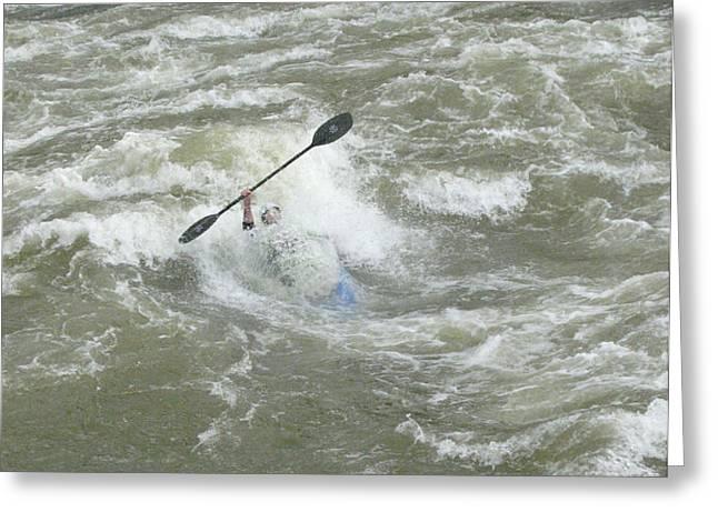 Wave Surfing Kayaker Goes Underwater Greeting Card by Skip Brown