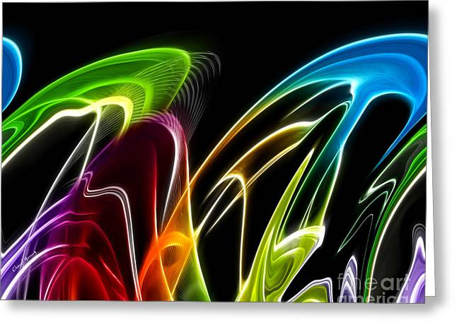 Neon Art Greeting Cards - Wavelengths 2 Greeting Card by Cheryl Young