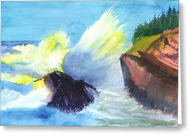Blue Begonias Greeting Cards - Waves 1 Greeting Card by Anil Nene