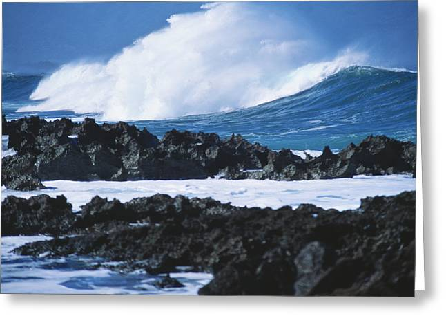 Turbulent Skies Greeting Cards - Waves And Rocks Greeting Card by Kyle Rothenborg - Printscapes