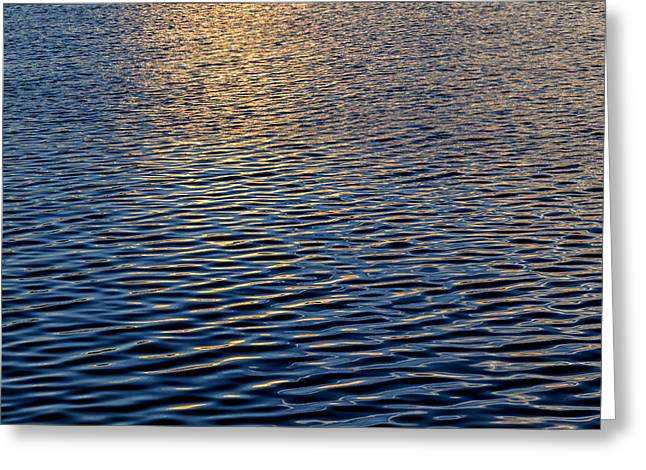 Water Reflecting At Sunset Greeting Cards - Waves at Sunset Greeting Card by Robert Ullmann