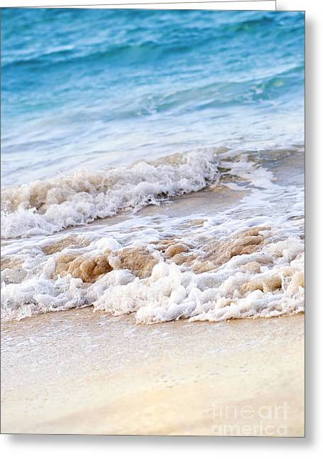 Sparkling Beach Greeting Cards - Waves breaking on tropical shore Greeting Card by Elena Elisseeva