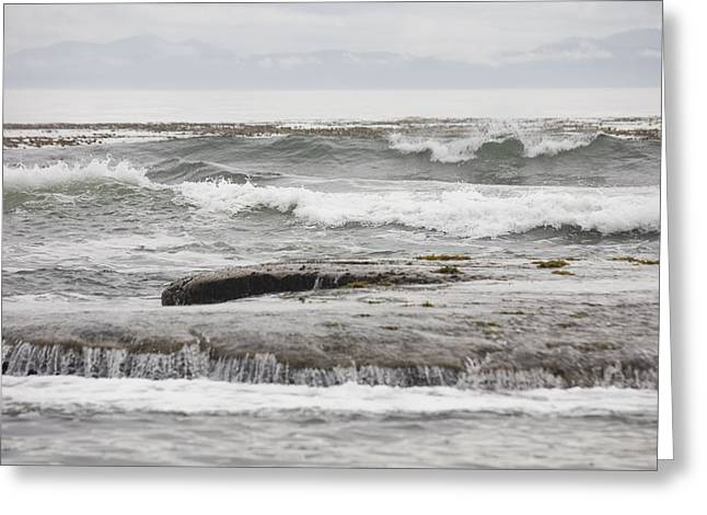 Botanical Beach Greeting Cards - Waves Crash Ashore Over Reefs Greeting Card by Taylor S. Kennedy