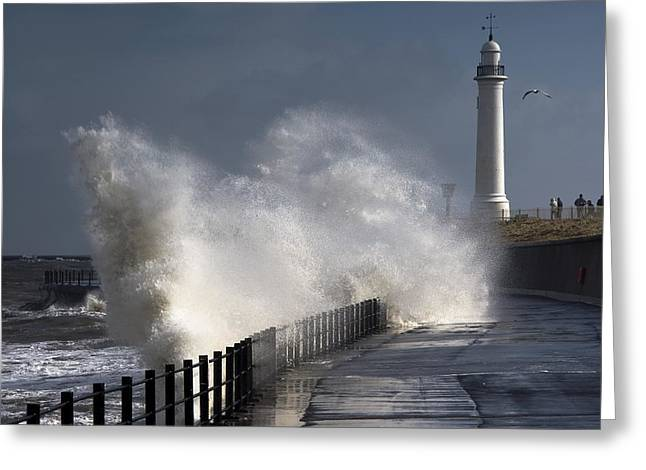 Buildings In The Harbor Greeting Cards - Waves Crashing By Lighthouse At Greeting Card by John Short