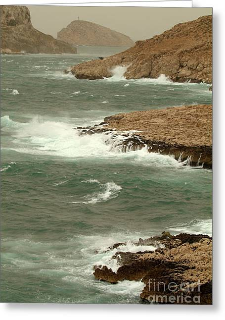 Weathered Rock Face Greeting Cards - Waves crashing on the coast Greeting Card by Sami Sarkis